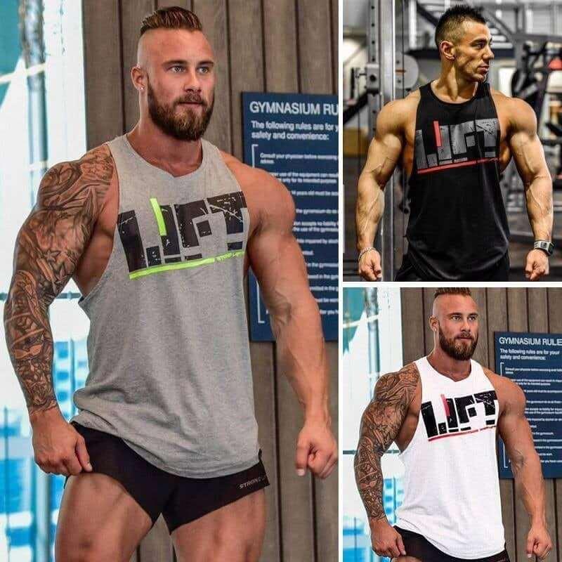 Áo 3 lỗ tập gym nam, áo tanktop nam khoét sâu LIFT